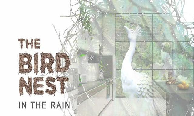 Bức tranh gian bếp tổ chim gần gũi thiên nhiên