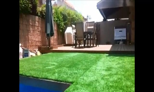 Khu bơi lội nằm ẩn dưới thảm cỏ ngoài sân