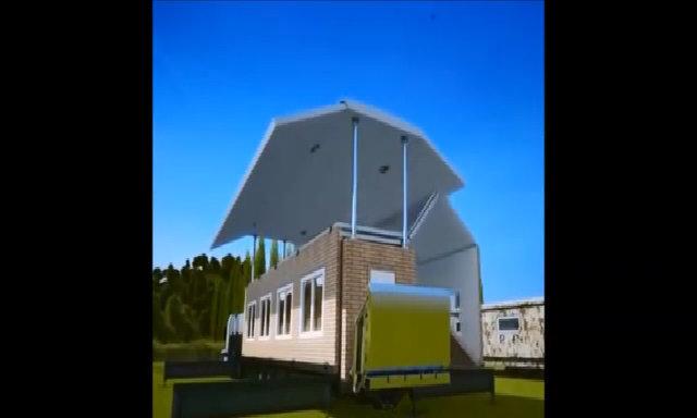 Xe biến thành nhà một tầng có 3 phòng rộng rãi